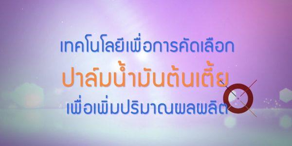 พลังวิทย์ คิดเพื่อคนไทย ตอน เทคโนโลยีเพื่อการคัดเลือกปาล์มน้ำมันต้นเตี้ยเพื่อเพิ่มปริมาณผลผลิต